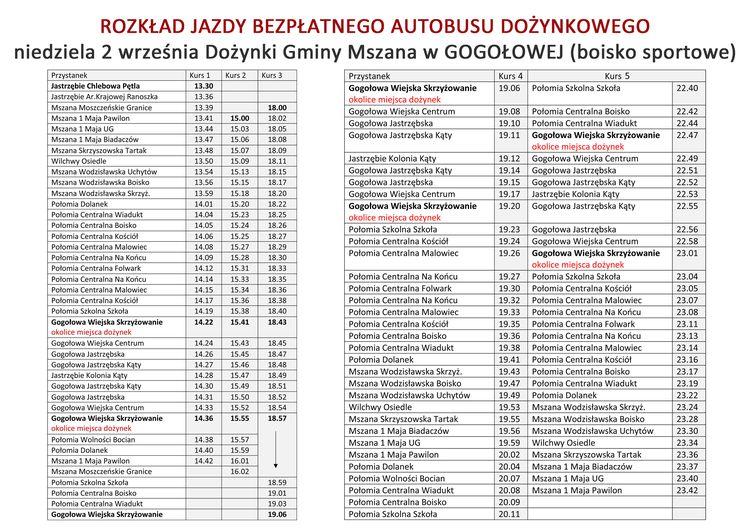 dozynki2018_gmina_mszana_rozklad_autobusu