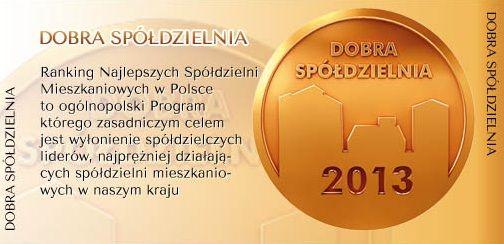 SM ROW otrzymała certyfikat Dobra Spółdzielnia 2013
