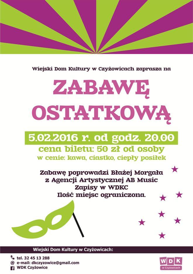 Zabawa ostatkowa z WDK w Czyżowicach! , materiały prasowe