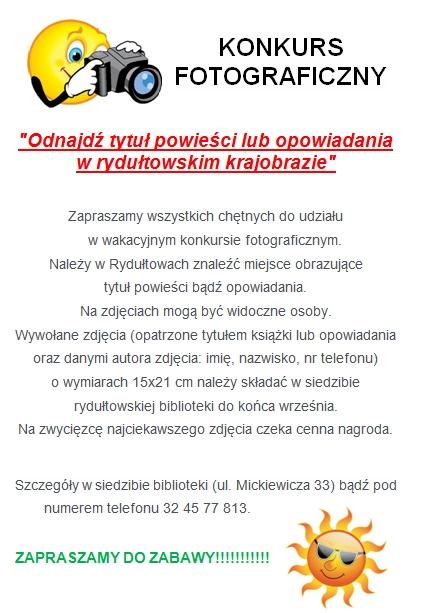 Konkurs fotograficzny dla miłośników książek, materiały prasowe Biblioteka w Rydułtowach