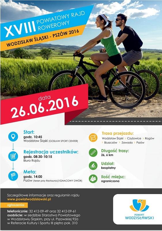 Plakat promujący Powiatowy Rajd Rowerowy w Wodzisławiu Śląskim, który odbędzie się już 26 czerwca. Zapisy trwają