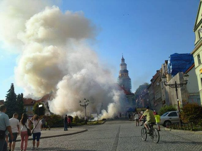 Pożar krzewów na rynku w Wodzisławiu