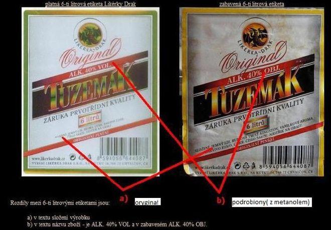 Zdjęcia podrobionych wyrobów alkoholowych zawierających metanol, nie posiadających właściwych czeskich znaków akcyzy.